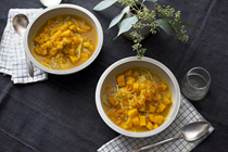 Winter noodle soup with coffee-roasted squash