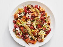Winter panzanella with squash and salami