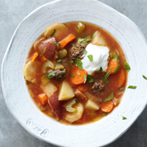 Winter vegetable soup with Turkish meatballs