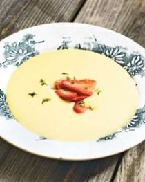 Yellow squash soup with cured strawberries