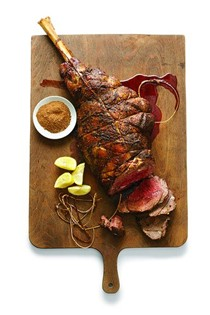 Yogurt-marinated leg of lamb with cardamom and orange
