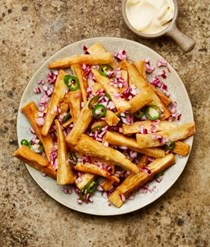 Yuca fries with pickled onions