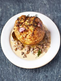 Zombie brain (magnificent whole-roasted celeriac, mushroom sauce and barley)