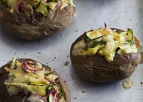 Zucchini-artichoke stuffed potatoes