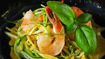 Zucchini spaghetti with jumbo shrimp in a Thai green curry sauce