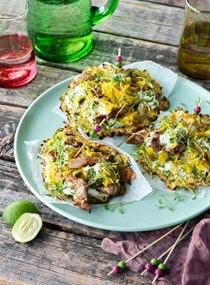 Zucchini tacos with spiced mustard chicken